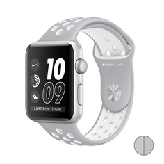 Watch Nike+ 42mm (MNNT2) Silver Aluminum Case with Flat Silver/White Nike Sport Band