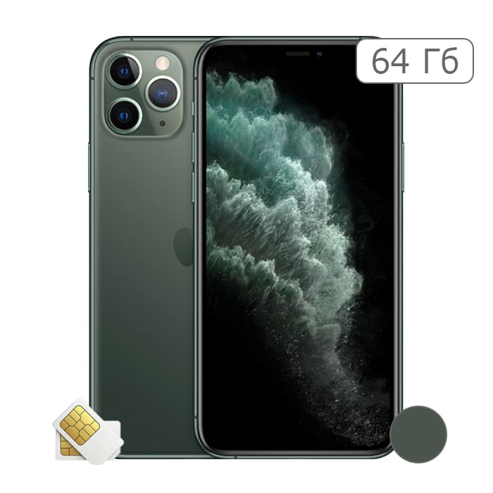 iPhone 11 Pro 64Gb Midnight Green/Темно-зеленый (2 sim)