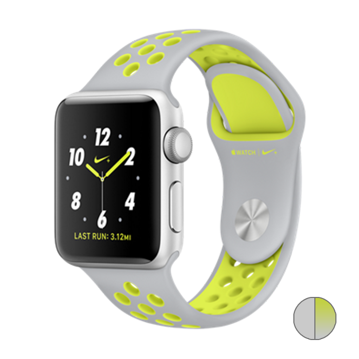 Watch Nike+ 42mm (MNYQ2) Silver Aluminum Case with Flat Silver/Volt Nike Sport Band